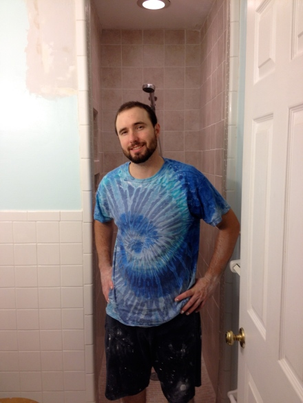 Mark conquered the shower!