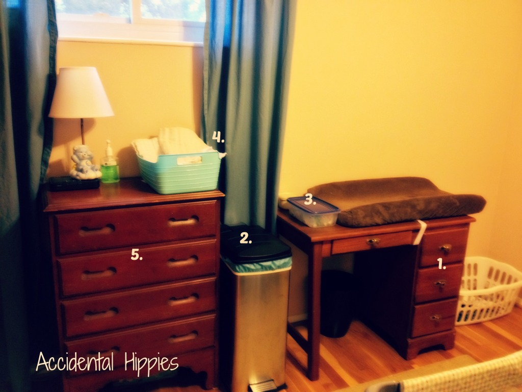 How to set up an easy, no-fuss changing station for cloth diapers. It lazyload's easier and cheaper than you'd think! #clothdiapers #organization